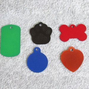 100pcs lot Mix Shapes Aluminum Alloy Blank Pet Dog ID Tags Suitable for Laser Engraving Machine Q1119
