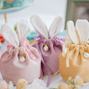 Candy Bags Gift Cartoon Birthday Party Ears Bag Snacks Biscuit Rabbit Velvet Cookies Baking Bags Decoration Wedding Uphaf