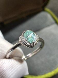 Geoki Luxury Passage Diamond Test 5 * 7mm Blue Moissanite Bague 925 Sterling Sterling Haute Qualité Moissanite Colories Anneaux de mariage