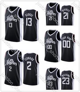 Gençlik Lou Williams 23 Paul George 13 Kawhi Leonard 2 Beverley 21 Sıcak Basın City New Edition Formalar Gömlek Camisetas