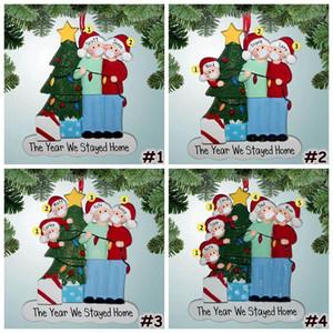 2020 Quarantine Christmas Ornament 4 Styles Personalized Resin Mask Snowman Xmas Tree Hanging Pendant Christmas Tree Decorations