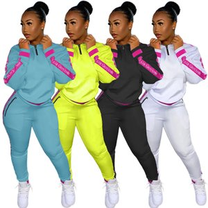 hot Autumn And Winter 2020 urban sweater splicing letter leisure sports suit two-piece set fashion Long sleeve sweater tracksuit Suit