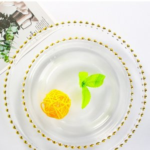 21cm Round Wedding Plate Nordic Gold Bead Glass Charger Dinner Plated Dish Decorative Salad Fruit Dinner Table Decoration