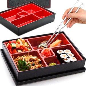 Ofis Piknik Taşınabilir Dayanıklı Öğle Yemeği Kutusu Bento Box ABS Okul Güvenli Pirinç Gıda Konteynerleri 5-section Japon Tarzı Suşi Catering 201210