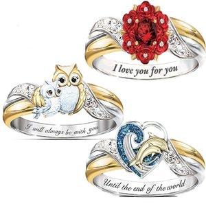 Girls Animal Series Dolphin Heart e per le donne Rosa Diamante artificiale Genitore genitore Gufo Gufo Anello Partito T2C5288