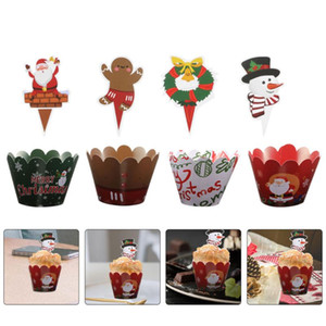 48pcs Cupcake Decorations Festival Christmas Holiday Lovely Delicate Cake Toppers Cupcake Wrapper Topper Cake Wrappers