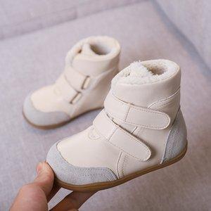 Bottes de neige féminines pour enfants en cuir véritables Bottes de neige enfant Snow Snow Bottes mâles à mi-jambe Enfant coton rembourré