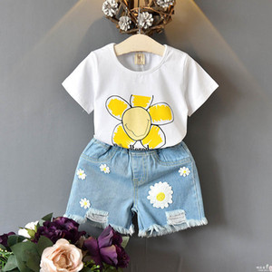 Girls Outfits 2019 new Summer Kids Sets floral T shirt+Jeans Shorts Children Suit kids designer clothes Girl Suit A4663