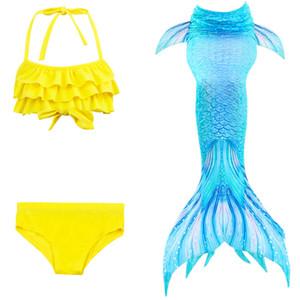 discount kids mermaid swimsuit girls bikini Bathing Suit Children Halter swimwear 3pcs Set mermaid Coaplay Costume style eight