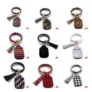 Neoprene Hand Sanitizer Bottle Holder Keychain Bags Key Rings Soap Bottle Holder PU Bracelet Leopard Holder Party Favor CCA2775