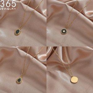 Ketten 2021 Mode Design Schwarz Steinform Gold Farbe Edelstahl Halskette Einzelne Kette Für Frauen Schmuck Geburtstagsgeschenke