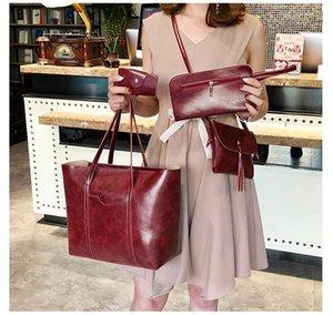4Pcs Women Girls Fashion Bags Ladies Big Capacity Shoulder Bag Tote Crossbody Bag Handbag Card Holder Composite