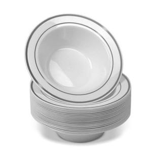 20Pcs set Disposable Salad Soup Bowl Heavy Duty Anti Leak Spill Dinnerware Container