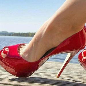 Sapatos Salto de Couro Patentoado Vermelho, Calado Feminino Stilotto com Bico Alto Plataforma 14 cm PARA CASAMENTO BOMBAS, BOMBAS