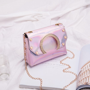 laser sequin one shoulder chain small square bag 2020 summer and autumn new semicircle crossbody bag