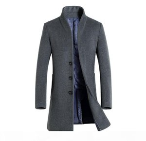 Winter Mens Solid Color Trench Coats Lapel Neck Long Coats Button Business Style Fashion Hoome Clothing