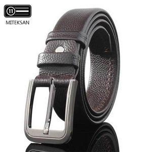 Miteksan vaca cuero genuino hombre cinturón de lujo suave pin hebilla joker moda classice vintage ceinture homme negro casual nuevo 201209