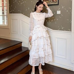 2020 Spring fashion Dress Women white Lace embroidery Patchwork Long Sleeve Elegant Slim Cake Dresses Drop Shipping