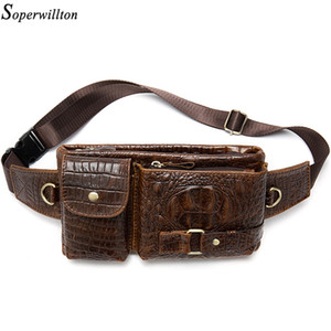 Soperwillton Crocodile Pattern Packs Men Genuine Cow Leather Waist Vintage Fanny Pack Man Belt Bags Phone Bag 201130