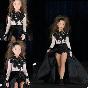 Black Flower Girls' Dresses Long Sleeves Bling Sequins Appliqued Beaded Children's Pageant Dress Stage Stage Catwalk Dress Custom Made