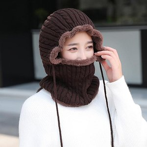 Women Caps Gorras Bonnet Mask One-piece Cap Winter Wool Knitted Scarf Hat Set Beanie Women Scarf Skullies Beanies Hats