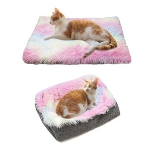 Long Plush Bed Cotton Linen Mat For Dogs Cats Colorful Dog House Soft Washable Cat Cushion Warm Sofa Pet Supplie