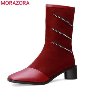 MORAZORA 2020 new arrival women ankle boots crystal zip flock autumn winter boots fashion simple party wedding shoes ladies