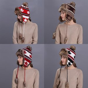Russian Red Hat Femme Hiver chaud Oreillettes fourrure Bomber Chapeaux Casquettes Femmes Noël Bonnets Pompon