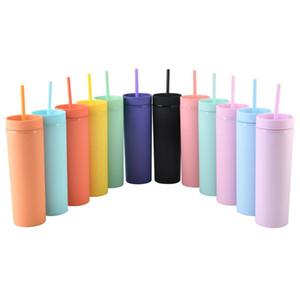 In magazzino 16oz Acrilico Acrilico Tumbl Hamplers Colori opachi Doppia Parete Bottiglia di acqua Bottiglia Caffè Bere Tumbler Plastic Tumbler Stippy Tazza con cannucce gratis