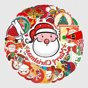 New Year Christmas Creative Sticker Poster Wall Scooter Reusable Waterproof Sticker Children Diy Cartoon Sticker Party Gift Wholesale