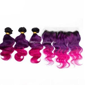 OMBRE Цвет 1b Фиолетовые розовые волосы 3 Пачки с кружевной лобной закрытием Топ-кружева Frontal 13x4 с масляной волной Девственные волосы Weaves 4PCS