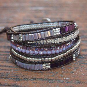 5 Layers Geometric Purple Hematite Wrap Bracelets for Woman 2Row Faceted Crystal Copper Bead Chains Boho Bracelet Femme Jewelry