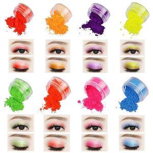 Makeup Pigment Neon Loose Powder Eyeshadow Long Lasting Waterproof Matte minneral Shiny Cosmetic Shadow Custom Label 8 Colors