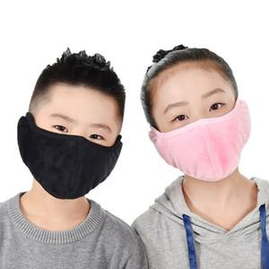 2 1 çocuk unisex ağız muffle moda kulaklıklar maskeleri toz geçirmez yüz maskesi açık kış sıcak rüzgar geçirmez yarım maske CCA3139