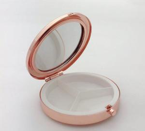 Portable Metal Round Pill Box Medicine Tablet Capsule Container False eyelash box Storage Travel DHC4111