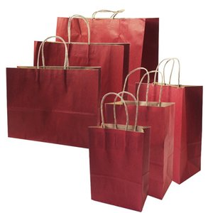 10 Pcs lot Gift Bags With Handles Multi-function Red Paper Bags 6 Size Recyclable Bag Environmental Protection Clothes Shoes Bag Y1202