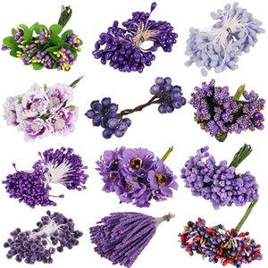 6 8 10 12 50 70 90pcs Mix Purple Flower Cherry Stamen Berries Bundle DIY Christmas Wedding Cake Gift Box Wreaths Decor