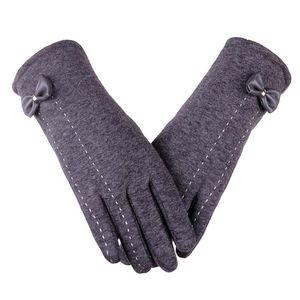 Otoño Guantes de invierno Mujeres Fleece Cálido Todos los dedos Mittens Soild Bow Muñeca Glove más Velvet Women's Winter Mittens Handchoenen
