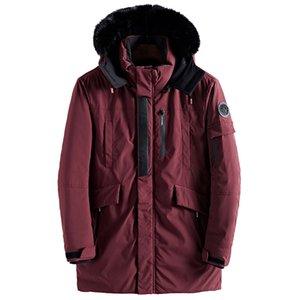 Drop shipping Fur Collar Male Winter Wram Parka Army Green Jacket Men Fashion Casual Loose Mens Jacket Mens Long Coats AXP154