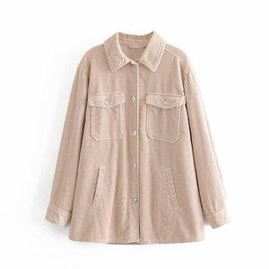 ZXQJ corduroy women solid shirt 2020 autumn fashion pocket shirt streetwear female full sleeve thick causal girl