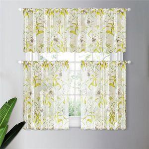 Topfinel cortos cortinas transparentes para el tratamiento Sala Cocina Baño Puerta Ventana tropical floral cortinas de tul preconstituida