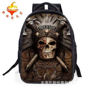 New hip-hop music shoulder bag, skull rock, shoulder bag, skull and shoulder backpack.