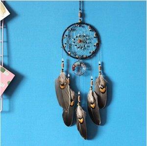 수제 Dreamcatcher 바람 종소리 깃털과 깃털이있는 수제 노르딕 꿈 포수 그물 Dreamcatcher 공예 선물 홈 인테리어 DWF3360