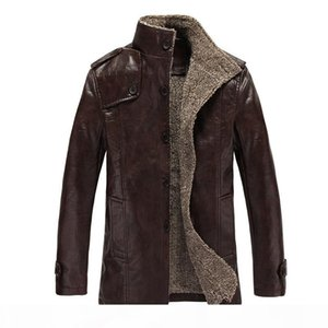 Fall-2017 Autumn Winter new style for men man leather coats fashion mandarin collar suede jackets thicken outerwear leather clothing