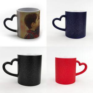 Sublimación en blanco tazas tazas de tazas de pilar de vaso amor corazón mango tazas sin cubierta color cambio de bricolaje estrella bling 6ex g2