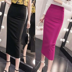 2020 Estate New Women Stretch Stretch Silid Temperament Bag Skirt Hip Skirt Ladies Ginocchiale Poliestere Casual Poliestere