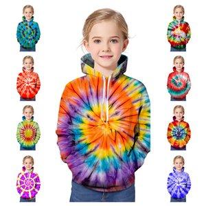 3d التعادل صبغ الاطفال الطفل جونيور هوديي سترة جيرات فضفاض البلوز قمم مقنعين sweatershirt الفتيان الفتيات عارضة سوياتشيرتس الرياضية E121403