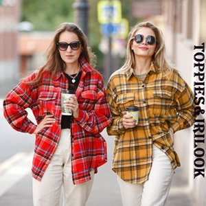 Toppies vintage plaid shirt jackets women oversized shirts ladies tops plus size clothing fall 201201