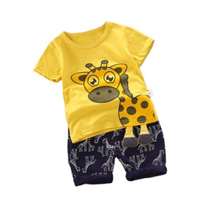 Summer Children Fashion Clothing Baby Boys Girls Cartoon T Shirt Shorts 2Pcs sets Kids Infant Clothes Toddler Casual Tracksuit J1204