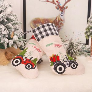 Christmas Stockings Decor Christmas Trees Ornament Party Decorations Dog Paw Plaid Design Stocking Candy Socks Bags Xmas Gifts Bag BEWF3254